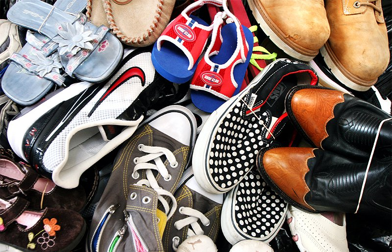 Student group collecting shoes for Haiti