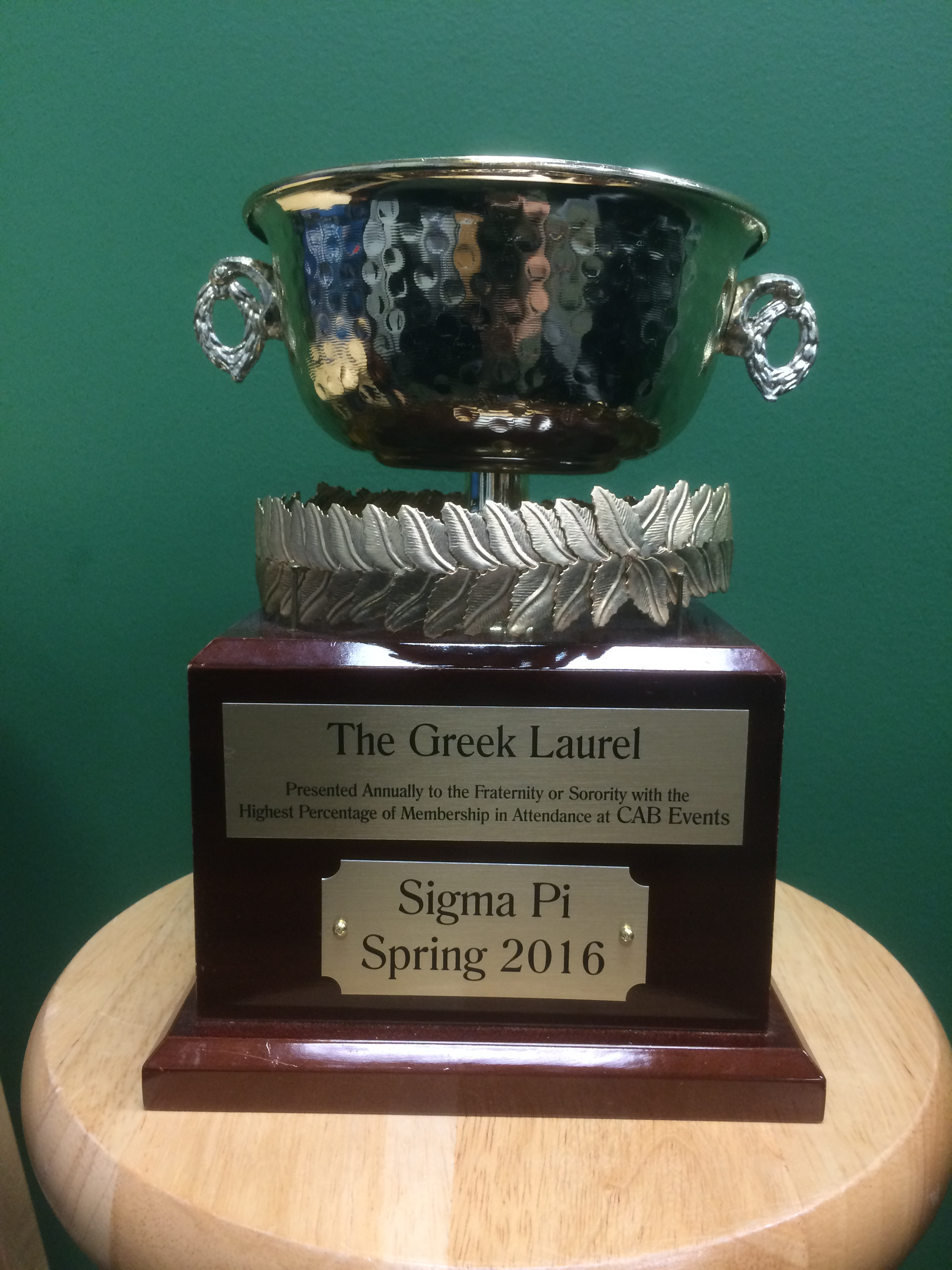 Sigma Pi awarded Fall 2016 Greek Laurel