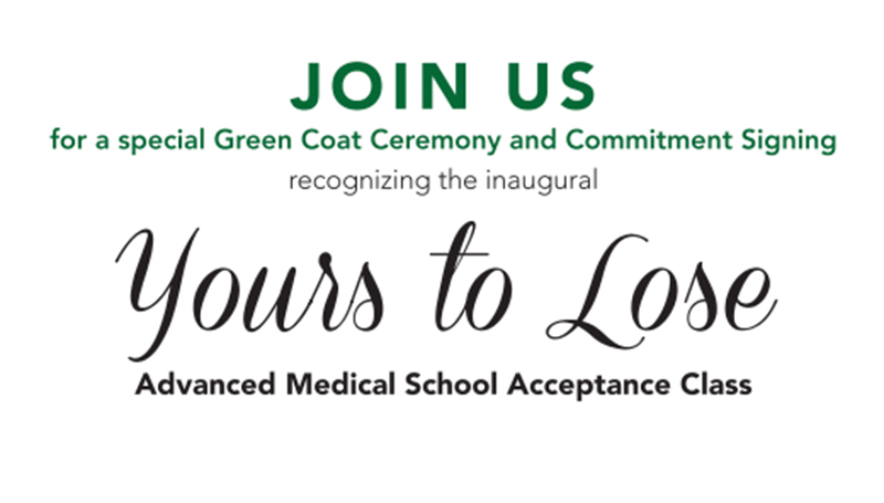 Green Coat Ceremony planned for inaugural Yours to Lose cohort