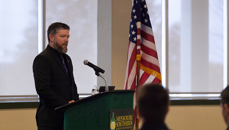 Former MSSU student Brodi Pursley speaks at Veterans Day event