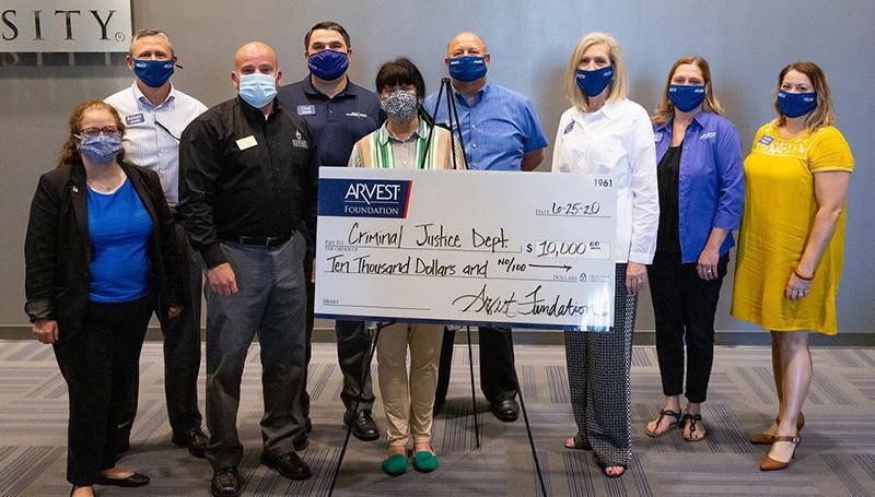 Arvest Foundation presents $10,000 to MSSU's Criminal Justice Department